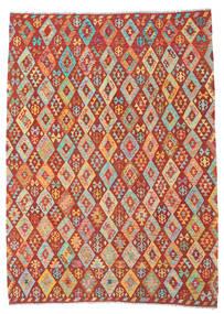 Kilim Afghan Old Style Tappeto 213X291 Orientale Tessuto A Mano Rosso Scuro/Arancione (Lana, Afghanistan)