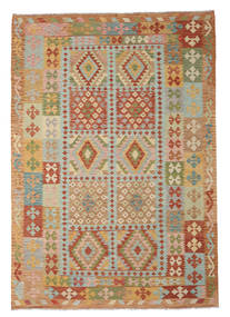 Kilim Afghan Old Style Rug 206X297 Authentic Oriental Handwoven Light Brown/Light Grey (Wool, Afghanistan)