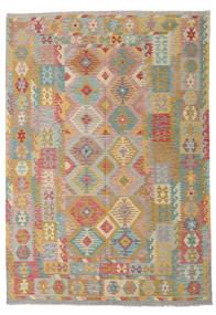 Kilim Afghan Old Style Tapis 208X294 D'orient Tissé À La Main Marron Clair/Gris Clair (Laine, Afghanistan)