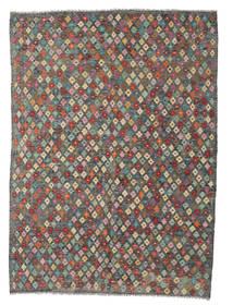 Kilim Afghan Old Style Rug 170X240 Authentic  Oriental Handwoven Dark Grey/Light Brown (Wool, Afghanistan)