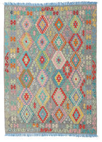 Kilim Afghan Old Style Rug 180X245 Authentic  Oriental Handwoven Light Grey/Dark Grey (Wool, Afghanistan)