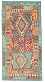 Kilim Afghan Old Style Rug 100X199 Authentic  Oriental Handwoven Turquoise Blue/Brown (Wool, Afghanistan)