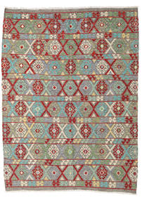 Kilim Afghan Old Style Rug 185X248 Authentic  Oriental Handwoven Light Grey/Olive Green (Wool, Afghanistan)