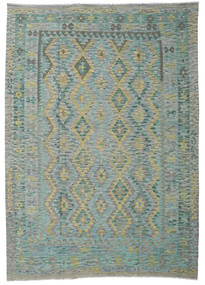 Kilim Afghan Old Style Rug 206X291 Authentic  Oriental Handwoven Light Grey/Dark Grey (Wool, Afghanistan)