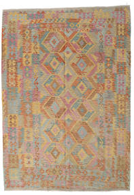 Kilim Afghan Old Style Rug 211X291 Authentic Oriental Handwoven Light Brown/Light Grey (Wool, Afghanistan)
