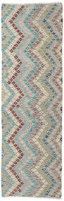 Kilim Afghan Old Style Rug 90X284 Authentic  Oriental Handwoven Hallway Runner  Light Grey/Dark Beige (Wool, Afghanistan)
