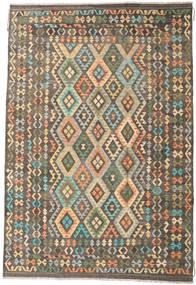 Kilim Afghan Old Style Rug 200X295 Authentic  Oriental Handwoven Light Brown/Dark Grey (Wool, Afghanistan)