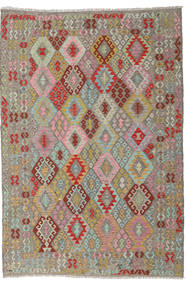 Kilim Afghan Old Style Rug 202X297 Authentic  Oriental Handwoven Light Grey/Dark Red (Wool, Afghanistan)