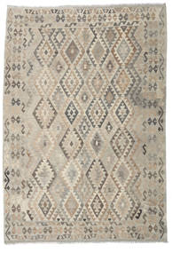 Kilim Afghan Old Style Rug 203X294 Authentic  Oriental Handwoven Light Brown/Light Grey (Wool, Afghanistan)