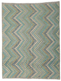 Kilim Afghan Old Style Rug 214X275 Authentic  Oriental Handwoven Light Grey/Turquoise Blue (Wool, Afghanistan)