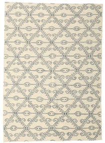 Kilim Modern Rug 209X293 Authentic  Modern Handwoven Beige/Light Grey (Wool, Afghanistan)