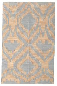 Kelim Moderni Matto 196X305 Moderni Käsinkudottu Vaaleanharmaa/Tummanbeige (Villa, Afganistan)
