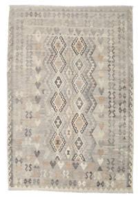Kelim Afghan Old Style Tæppe 208X306 Ægte Orientalsk Håndvævet Lysegrå/Lysebrun (Uld, Afghanistan)