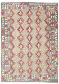 Kelim Afghan Old Style Teppe 202X286 Ekte Orientalsk Håndvevd Lys Grå/Beige (Ull, Afghanistan)