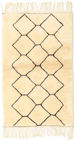 Berber Moroccan - Beni Ourain Rug 98X160 Authentic  Modern Handknotted Beige/White/Creme (Wool, Morocco)