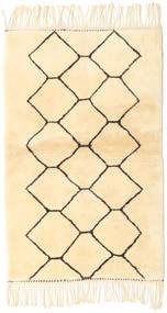 Berber Moroccan - Beni Ourain Dywan 98X160 Nowoczesny Tkany Ręcznie Beżowy/Biały/Creme (Wełna, Maroko)