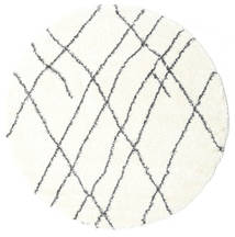 Shaggy Tangier - White/Dark Grey Rug Ø 200 Modern Round Beige ( Turkey)