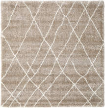 Shaggy Tangier - Beige/White Rug 250X250 Modern Square Light Grey Large ( Turkey)