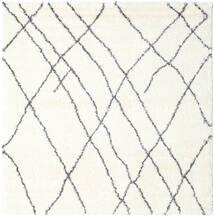Shaggy Tangier - Bianco/Grigio Scuro Tappeto 250X250 Moderno Quadrato Beige/Bianco/Creme Grandi ( Turchia)