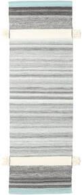 Fenix - Türkis Teppich  80X250 Echter Moderner Handgewebter Läufer Hellgrau/Beige (Wolle, Indien)