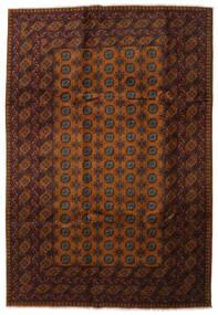 アフガン 絨毯 202X295 オリエンタル 手織り 濃い茶色/茶 (ウール, アフガニスタン)