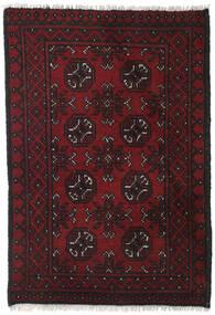 Afghan Matto 76X110 Itämainen Käsinsolmittu Musta/Tummanpunainen (Villa, Afganistan)