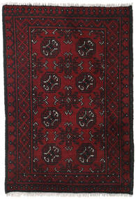 Afghan Alfombra 76X110 Oriental Hecha A Mano Negro/Rojo Oscuro (Lana, Afganistán)