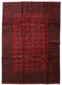 Afghan Teppich 201X285 Echter Orientalischer Handgeknüpfter Dunkelrot (Wolle, Afghanistan)
