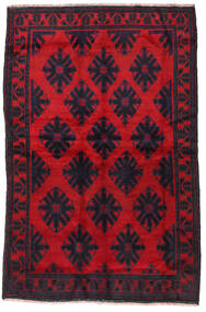 Beluch Teppe 145X225 Ekte Orientalsk Håndknyttet Svart/Rød/Mørk Rød (Ull, Afghanistan)