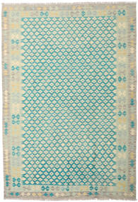Kilim Afghan Old Style Rug 203X297 Authentic  Oriental Handwoven Beige/Turquoise Blue (Wool, Afghanistan)