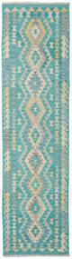 Kelim Afghan Old Style Teppe 79X296 Ekte Orientalsk Håndvevd Teppeløpere Turkis Blå/Lys Grå (Ull, Afghanistan)