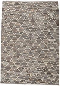 Kelim Ariana Teppich  211X301 Echter Moderner Handgewebter Hellgrau/Dunkelgrau (Wolle, Afghanistan)