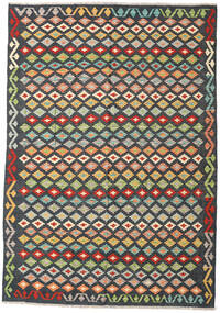 Kelim Afghan Old Style Matta 196X281 Äkta Orientalisk Handvävd Mörkgrå/Beige (Ull, Afghanistan)