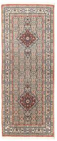 Moud Alfombra 79X195 Oriental Hecha A Mano Gris Claro/Blanco/Crema (Lana/Seda, Persia/Irán)