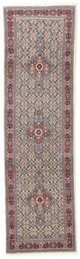 Moud Vloerkleed 77X256 Echt Oosters Handgeknoopt Tapijtloper Lichtgrijs/Donkerbruin (Wol/Zijde, Perzië/Iran)