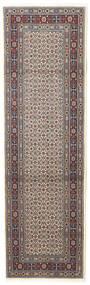 Moud Vloerkleed 76X247 Echt Oosters Handgeknoopt Tapijtloper Donkerbruin/Lichtgrijs (Wol/Zijde, Perzië/Iran)