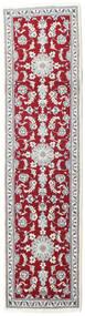 Nain Rug 78X304 Authentic  Oriental Handknotted Hallway Runner  Light Grey/Dark Red/Beige (Wool, Persia/Iran)