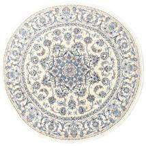 Nain Matta Ø 200 Äkta Orientalisk Handknuten Rund Vit/Cremefärgad/Ljusgrå (Ull, Persien/Iran)