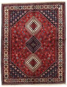 Yalameh Matta 156X195 Äkta Orientalisk Handknuten Mörkröd/Mörkgrå (Ull, Persien/Iran)