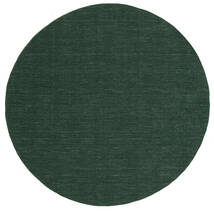 Kilim Loom - Forest Green Rug Ø 250 Authentic Modern Handwoven Round Dark Green Large (Wool, India)