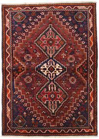 Shiraz Matto 105X146 Itämainen Käsinsolmittu Tummanpunainen/Tummanvihreä (Villa, Persia/Iran)