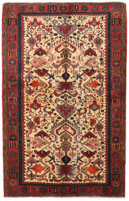 Hamadan Rug 129X202 Authentic  Oriental Handknotted Light Brown/Dark Red (Wool, Persia/Iran)