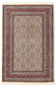 Moud Dywan 77X118 Orientalny Tkany Ręcznie Beżowy/Ciemnoczerwony (Wełna/Jedwab, Persja/Iran)