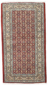 Moud Teppe 73X132 Ekte Orientalsk Håndknyttet Lysbrun/Lys Grå (Ull/Silke, Persia/Iran)