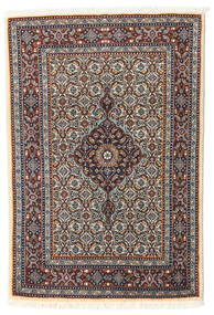 Moud Rug 78X114 Authentic Oriental Handknotted Light Brown/Dark Blue (Wool/Silk, Persia/Iran)