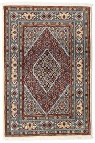 Moud Teppe 80X121 Ekte Orientalsk Håndknyttet Lysbrun/Mørk Brun (Ull/Silke, Persia/Iran)