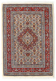 Moud Rug 61X86 Authentic  Oriental Handknotted Light Grey/Dark Red/Beige (Wool/Silk, Persia/Iran)