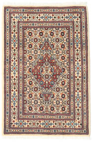 Moud Rug 62X90 Authentic  Oriental Handknotted Beige/Light Grey (Wool/Silk, Persia/Iran)