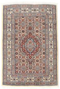 Moud Tapis 61X89 D'orient Fait Main Marron Clair/Beige (Laine/Soie, Perse/Iran)
