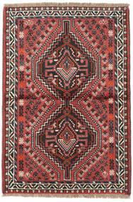Shiraz Alfombra 90X129 Oriental Hecha A Mano Negro/Rojo Oscuro (Lana, Persia/Irán)